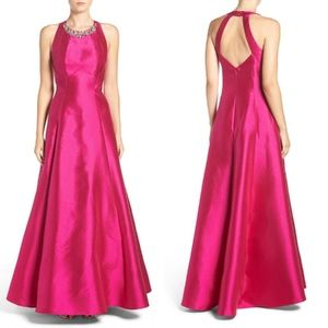 Eliza J FUCHSIA Embellished Mikado Fit/Flare Gown